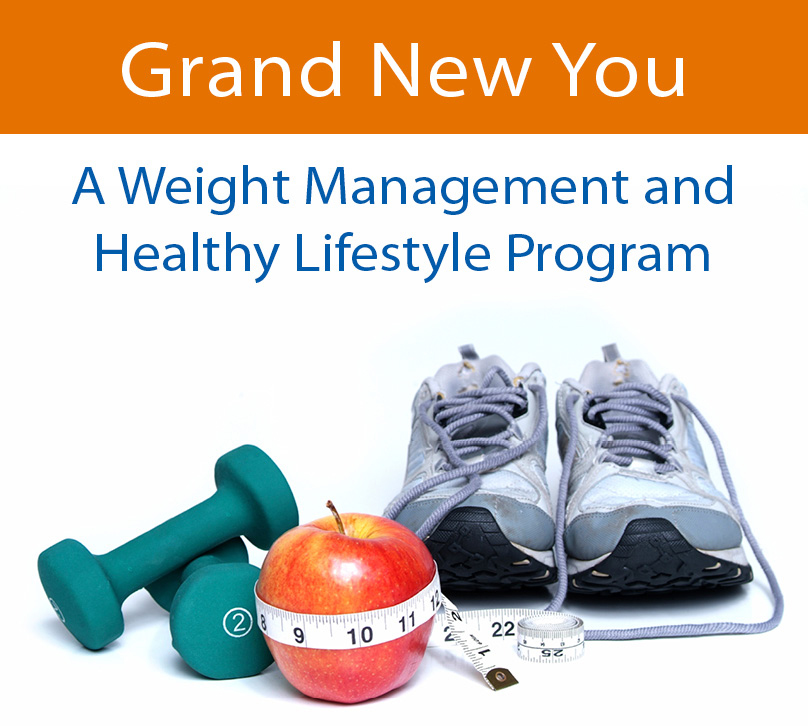 "A pair of handweights, a measuring tape wrapped around a red apple, and a pair of used sneakers underneath the text: ""Grand New You - A Weight Management and Healthy Lifestyle Program."""