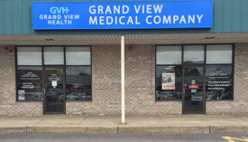 Exterior shot of Grand View Medical Company storefront.