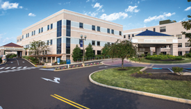 Exterior shot of hospital campus.